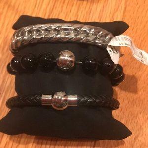 Three piece bracelet set stainless steel